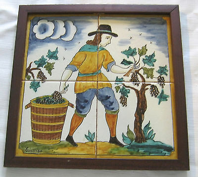 "Antique Tile Mural Man Cutting Grapes S. Guivernau Spain Early 1900's 12"" x 12"""