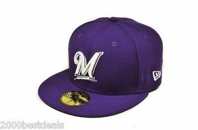 purchase cheap a3b3e dae2e New Era 59Fifty Cap MLB Milwaukee Brewers Mens Purple White Basic Fitted Hat
