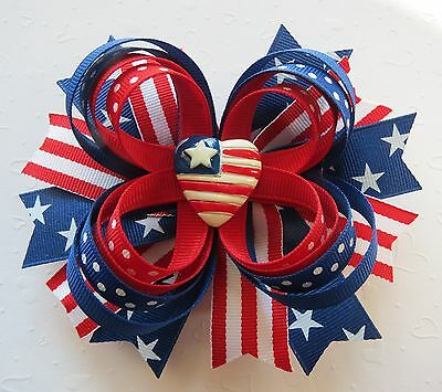 Patriotic USA flag Hair bow headband Veterans day 4th of July Memorial Day 646f3c6dd