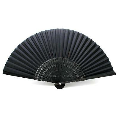 "BLACK SILK HAND FAN 8.25"" Bamboo Fabric HIGH QUALITY Folding Pocket Purse Solid"