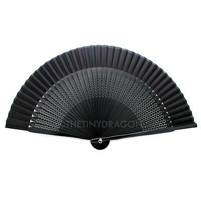 "BLACK SILK HAND FAN 7.75"" Bamboo Fabric HIGH QUALITY Folding Pocket Purse Solid"