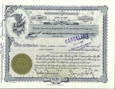 North American Equitable Life Assurance Company Stock Certificate Columbus Ohio