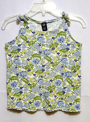 pre-owned BABY GAP girls Cotton Blend Blue Floral sleeveless Tank Top sz 4 GUC