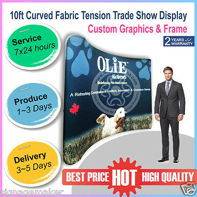 10ft Curved Fabric Tension Backwall New Version Pop Up Trade Show Display Booth