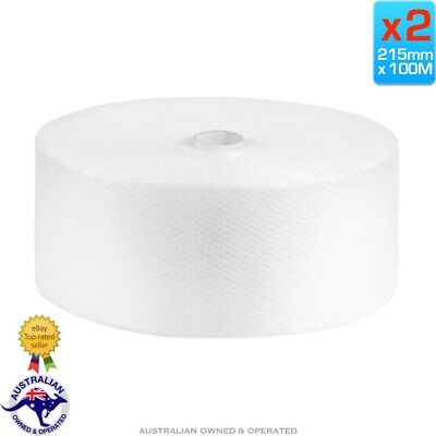 2 x 215mm x 100M Meters Bubble Cushioning Wrap Roll Clear 10mm Bubbles