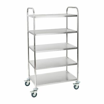 5 Tier Stainless Steel Catering Serving Trolley Cart Large Capacity 480 Kg New