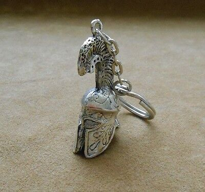 Ancient Greek Warriors helmet (corinthian tall) keychain, keyring silver color