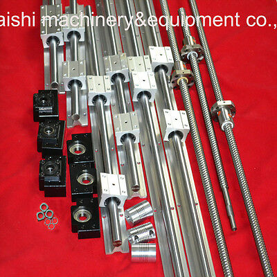 3Sets Linear Rails Sbr16+3 Ball Screws Rm1605+3 End Support Bk/bf12+3 Couplers