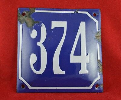 ANTIQUE VINTAGE GERMAN ENAMEL PORCELAIN HOUSE NUMBER SIGN No. 374