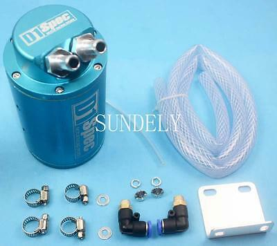 Blue Universal Car Motor Racing Sports Engine Oil Catch Tank Can Reservoir +Hose