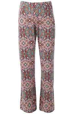 Womens Ladies Paisley Palazzo Trousers Wide Flared Leg Leggings Pants 8 10 12