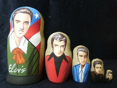 Wood Babushka Matryoshka Russian Hand Painted Doll Set Of 5 - Elvis Presley