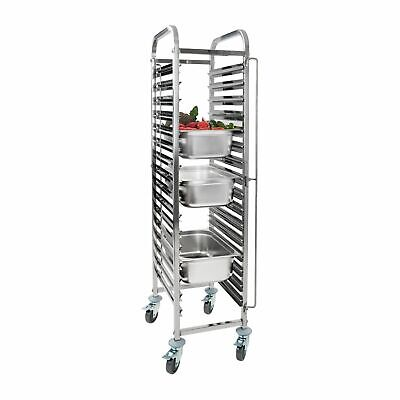 Stainless Steel Gastronorm Double Trolley Bakery Bun Bread Tray 16 Slots New