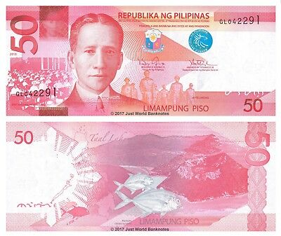 Philippines 50 Piso 2013 P-New Mint UNC Uncirculated Banknotes