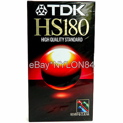 TDK HS180 Sharp & Clear VHS Video Cassette Tape 3hr. E-180HSEH NEW! SEALED!