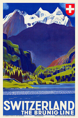 Vintage Art Deco Swiss Travel Poster Brünig Line 1930s Railway Retro Switzerland