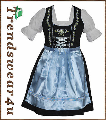 German Bavarian Trachten Oktoberfest 3 Pcs Ladies Blue Color Women Dirndl Dress