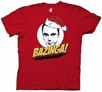Adult Red The Big Bang Theory Sheldon Cooper Bazinga! Santa Hat T-Shirt Tee