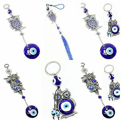 Turkish Blue Evil Eye Owl Collections Wall & Car Hanging Amulets Keychain Ring