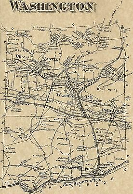 Washington Port Colden NJ 1874 Maps with Homeowners Names Shown