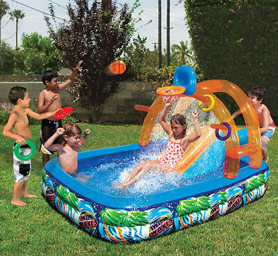 Bon Inflatable Water Slide Outdoor Pool Kids Fun Backyard Play Toys Summer Park  New