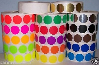"""500 3/4"""" CIRCLE COLOR CODED DOT LABEL STICKER 17 Colors"""