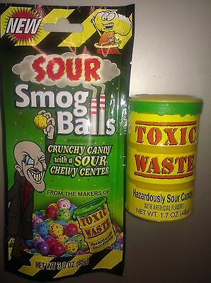 Toxic Waste Sour Candy COMBO CANDY DRUM & SMOG BALLS PARTY