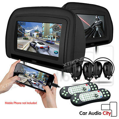 """2x 9"""" Car Dual Monitor Twin Leather Headrest DVD Player HDMI/Games/USB + Headset"""