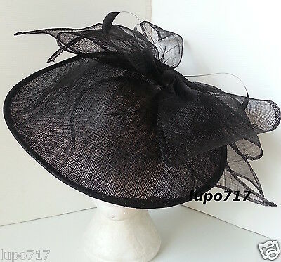 Black Bow Sinamay Feather Hat Fascinator Wedding Ascot Race Hen Party Ladies Day