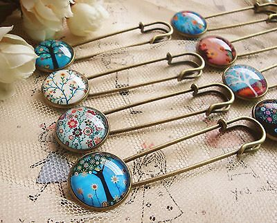 1 Women Girls Tree Retro Vintage Look Cameo Scarf Collar Hat brooch Brooche Pin