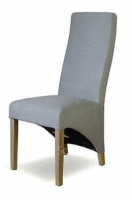 Kemble solid oak furniture set of four blue fabric dining chairs