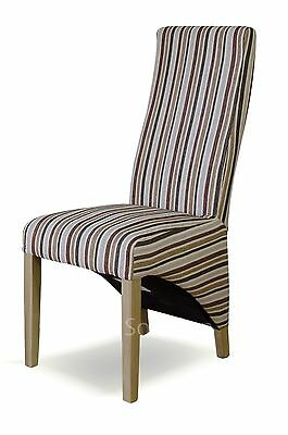 Kemble solid oak set of four striped multi-colour fabric dining room chairs