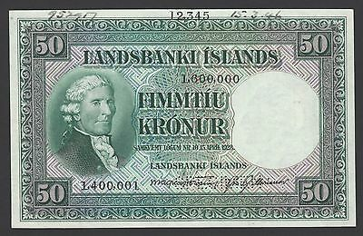 Iceland Landsbanki Islands 50 kronur L1928 P34s Signature9 Specimen Uncirculated