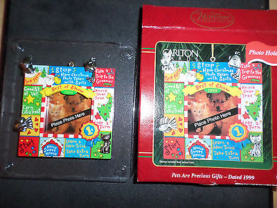 Carlton Cards Heirloom PHOTO holder Ornament PETS ARE PRECIOUS GIFTS 1999 # 132