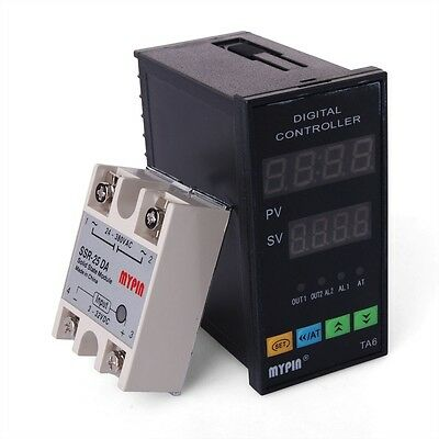 New Dual Digital F/C PID Temperature Controller TA6-SNR +K thermocouple TE74