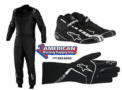 Alpinestars 2017 Novice Kart Kit BLACK KMX9 Suit,Tech1K Race Gloves / Shoes