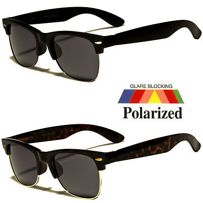 Polarized Retro Anti Glar Sunglasses Men Women Vintage Designer Metal Half Frame