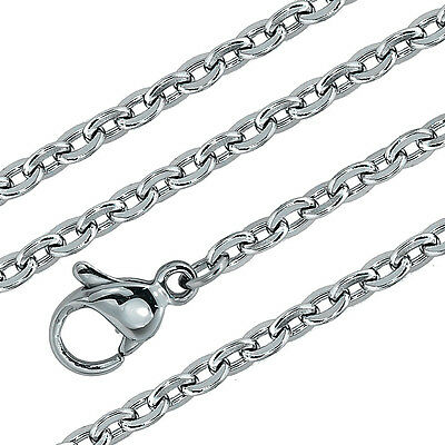 "3MM Stainless Steel Silver Cable Chain Necklace in 18"" 20"" inches Solid Links"