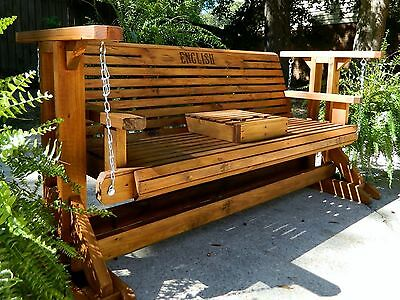 5ft Handmade Southern Style Wood Porch Glider Patio Bench Swing