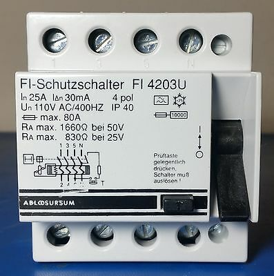 FI-Schutzschalter FI 4203U RCCB Current Circuit Breaker, 4 Pole, 25A 30mA