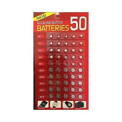 50 x Assorted Alkaline Cell Batteries AG1/3 /4 /10 /12 /13,,WATCH GAMES,CAMERA