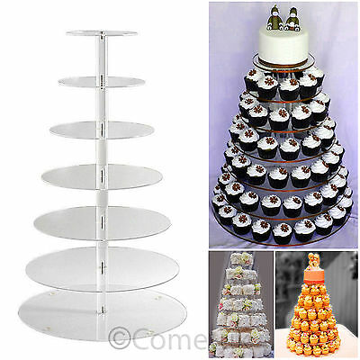 7 Tier Clear Acrylic Round Cupcake Stand Wedding Parties Cup Cake Display Tower