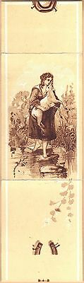 Victorian Trade Card-Burt's Jewelry-Galion OH-Girl Carrying Lamb Over Water