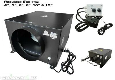 "4 5 6 8 10 12"" Hydroponic Grow Room Quiet Box Fan Temperature & Speed Control"