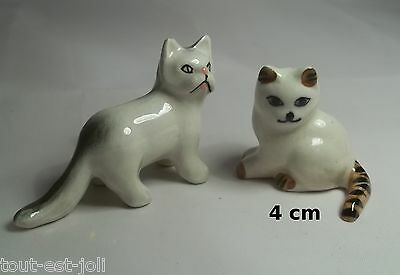 lot de 2 chats miniature porcelaine de collection, cat, poes,chat,matou    *A04