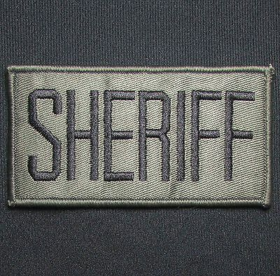 Sheriff Black Green Uniform Embroidered Tactical Patch Panel Hook & Loop 4X2
