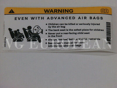 Mercedes-Benz Genuine Sun Visor Air Bag Warning Sticker Label Decal NEW