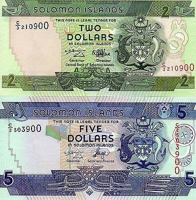 SOLOMON ISLANDS pair of UNC banknotes 2 and 5 Dollars 1997-2006