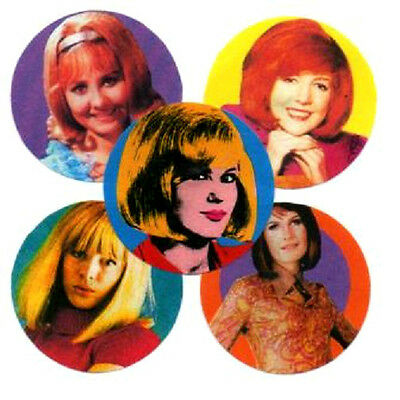 5 60's FEMALE UK POP BADGES. Dusty Springfield, Sandie Shaw, Marianne Fathfull.