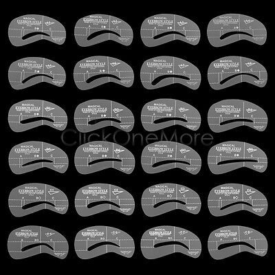 Eyebrow Shaping Stencil Brow Makeup Set Grooming Template Reusable Pack of 24